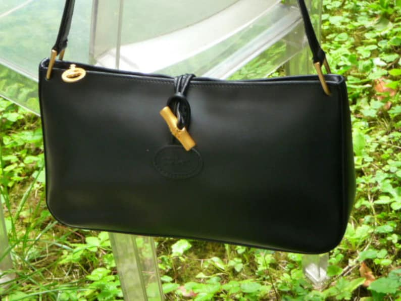 879c6a8890f9 LONGCHAMP 1948 ROSEAU Leather BAG Black Genuine numbered by