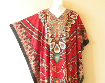 L 4X /& 5X 2X S XL M Glitter Digital Printed Floral Dolman Batwing Viscose Caftan Kaftan Tunic Hippy Maxi Dress 3X 1X