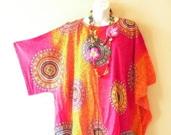 bf38d6f0f8 Batik Tie Dye Plus Size Kaftan Caftan Kimono Beachwear Womens Big Hippie  BohemianTunic Poncho Blouse Top - S, M, L, XL, 1X, 2X, 3X, 4X & 5X