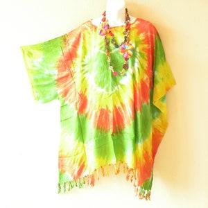 Summer Rayon Beach Cover up Colorful Tie Dye Batik Kaftan Hippie Boho Women Caftan Tunic Top  Plus Size 1x 2x 3x 4x 5x P259