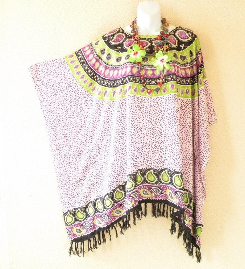 Solid Batik Hibiscus Plus Size Kaftan Poncho Hippy Women Blouse Top 2X to 5X