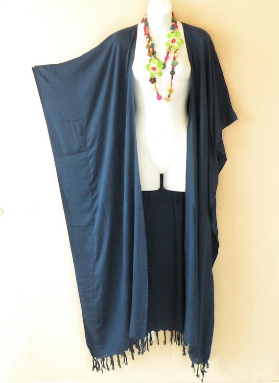 2X 5X Solid Plain Kimono Cardigan Duster Kaftan Plus Jacket Open Front 3X 4X