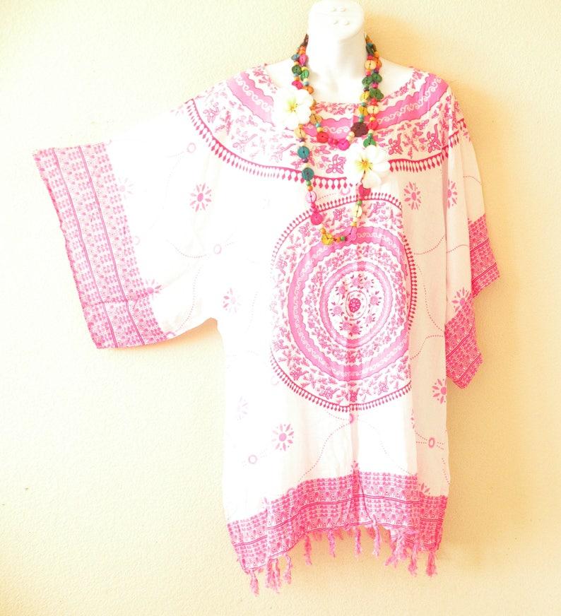 L S M XL /& 1X Abstract Batik Women Kaftan Caftan Kimono Beachwear Tunic Poncho Blouse Top