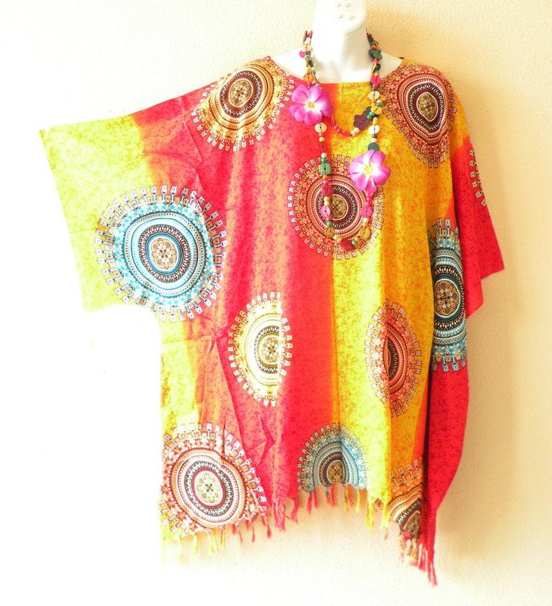 bf25fcd30e Medallion Circle Batik Boho Plus Size Kaftan Caftan Kimono | Etsy