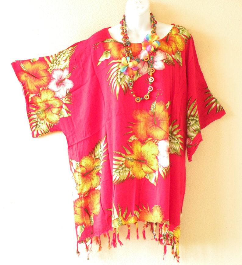 44b6eec76e Hibiscus Batik Plus Size Kaftan Caftan Kimono Beachwear Womens | Etsy