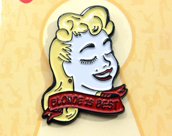 "Pin-up Girl ""Blonde is Best"" Enamel Lapel Pin"