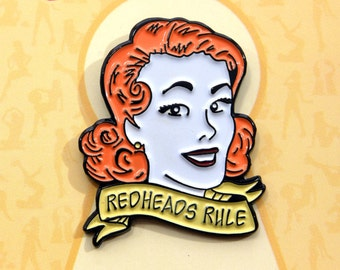 "Pin-up Girl ""Redheads Rule"" Enamel Lapel Pin"