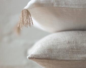 Light natural luxury linen pillow cover / stonewashed linen pillows / decorative linen pillow /linen cushions/linen pillow case/linen fabric