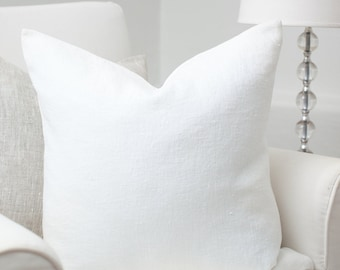 White luxury linen pillow cover / White stonewashed linen pillows / White linen pillow / Ivory linen cushion/Decorative linen cushions/Linen