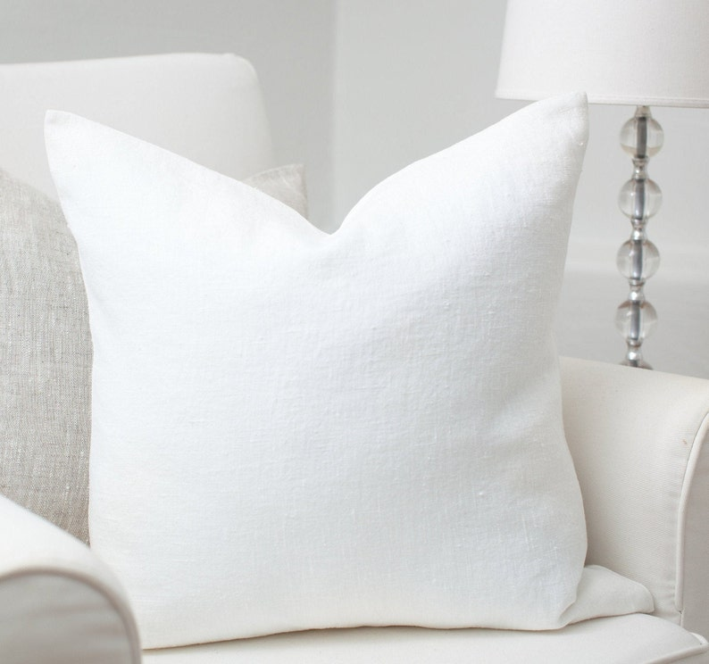 White luxury linen pillow cover / White stonewashed linen image 0