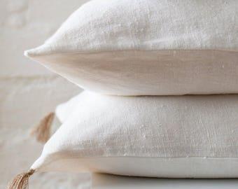 White premium linen pillow cover / White luxury linen pillow cover / Ivory decorative linen pillow /linen cushion /linen pillows/linen cover