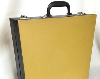 LP storage, yellow with black, 12 inch suitcase for plates