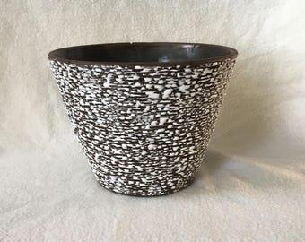Vintage flowerpot, dark brown/black with white glaze