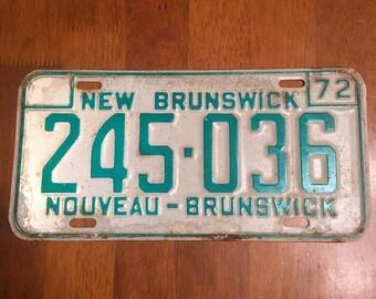 1972 New Brunswick Canada License Plate 245-036