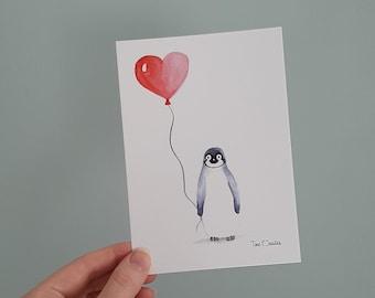Penguin print, nursery print, postcard, watercolour illustration, penguin heart balloon