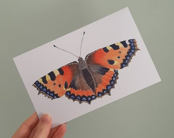 Postcard with a print of a watercolor tortoiseshell butterfly illustration