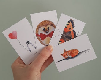 Set of 4 gift tags with watercolour print and ribbon. Penguin, hedgehog, fox and butterfly. Giftwrapping, small cards