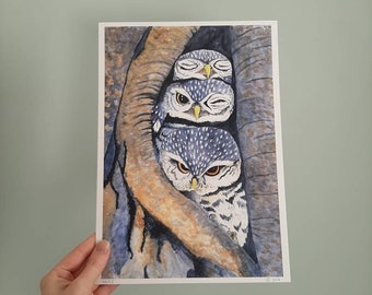 """A4 Print of a watercolour illustration of """"three little owls"""". Limited edition. Textiled paper. Art print."""