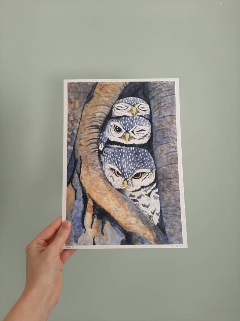 A4 Print of a watercolour illustration of three little image 0