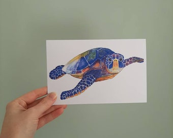 Large postcard of a Sea Turtle with envelope. Print of original watercolour illustration