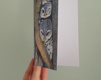 Large illustrated postcard of three little owls with a white envelope. Print of original watercolour illustration.