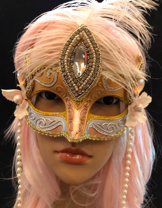 Venetian Mask Masquerade Party Ball pink and black lace 18th burlesque