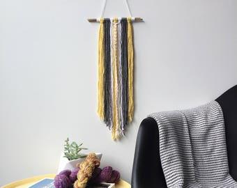 Modern Yarn Wall Hanging // White Grey Yellow / Wall Hanging / Wall Art / Home Decor / Boho / Nursery
