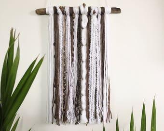 Modern Yarn Wall Hanging // Wall Hanging / Wall Art / Home Decor / Boho / Nursery / Driftwood / White Brown