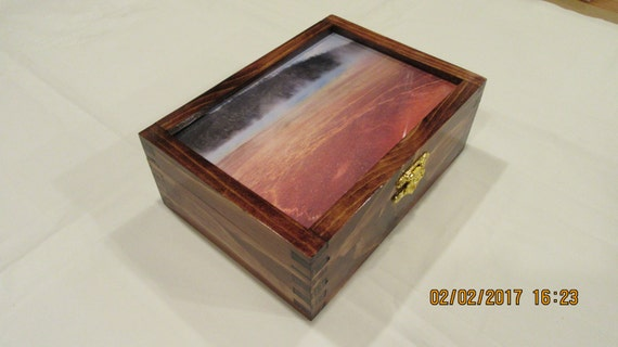Photo Frame Keepsake Box From Reclaimed Lumber Stained In Etsy