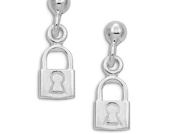 925 Sterling Silver Dangling Lock Stud Post Earrings