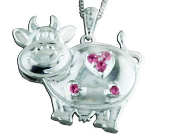 925 Sterling Silver with Diamond Pink Sapphire Cow Pendant Necklace