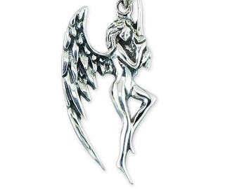 925 Sterling Silver Angel Fairy Oxidized Pendant Necklace