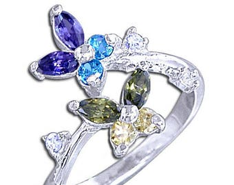 925 Sterling Silver Multicolor Diamond CZ Stone Butterfly Toe Ring