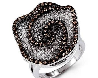 14k White Gold Brown Round Diamond Flower Fashion Ring