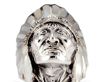 925 Silver Mother of Pearl American Indian Chief Head Ring
