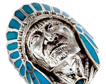 Turquoise 925 Silver Native American Indian Chief Head Ring