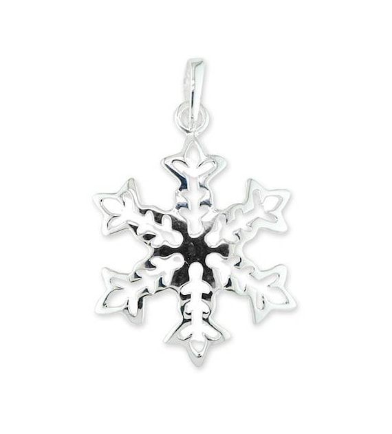 Shiny 925 Sterling Silver PL Cute Small Snowflake CZ Circle Pendant Necklace