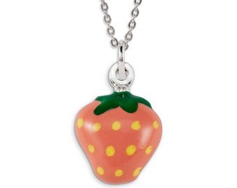 925 Sterling Silver Pink Yellow Green Strawberry Charm
