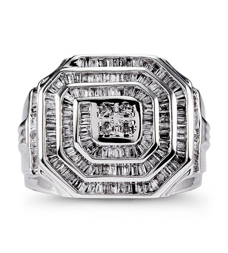 b264de4cd68ff Mens 14k White Gold 1.50 Ct Round Baguette Diamond Ring