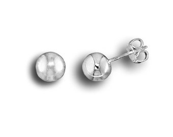925 Sterling Silver Polished 3.4 mm Button Stud Earrings