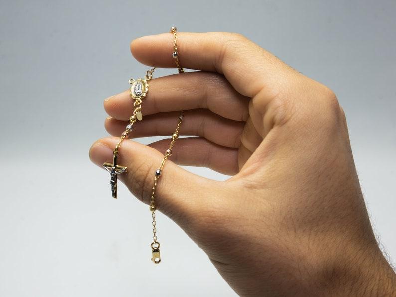 14k Gold Crucifix Rosary Bead Bracelet Christ Dangle Bracelet Tricolor Gold Rosary Bracelet