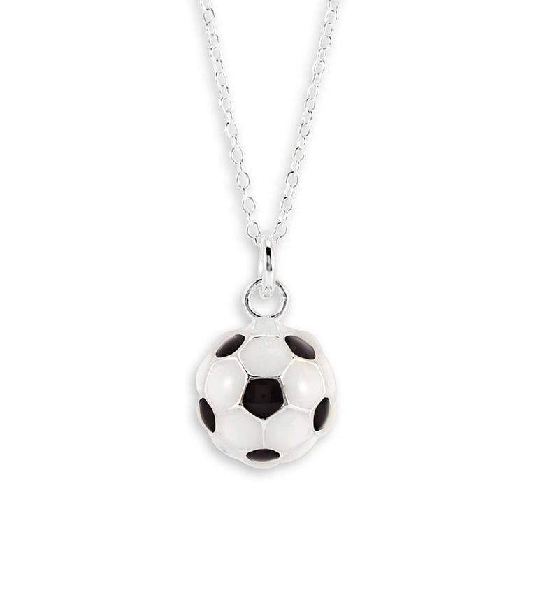 667235ef2 Black White .925 Sterling Silver Soccer Ball Necklace | Etsy