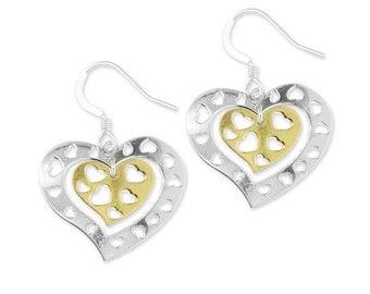 Two Tone Sterling Silver Heart Cutout Dangle Earrings