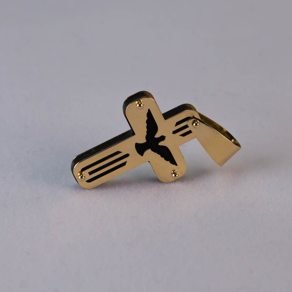 14k Gold Cross Holy Spirit Dove Pendant Charm for Necklace Large 55mm