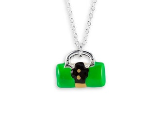 New Green .925 Silver Purse Handbag Pendant Necklace