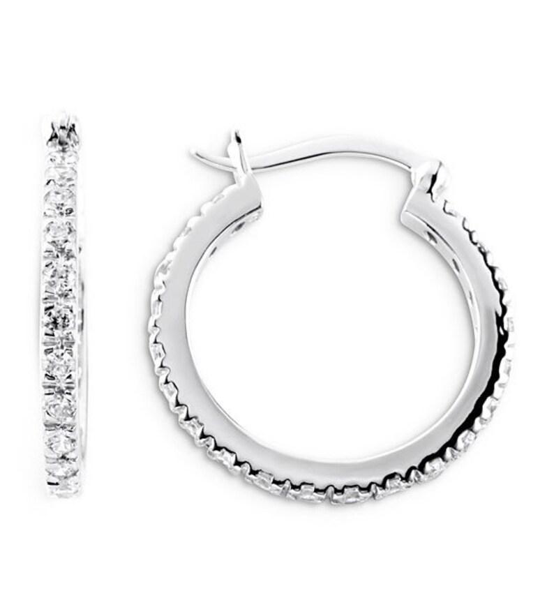 925 Sterling Silver Round CZ 78 Fashion Hoop Earrings