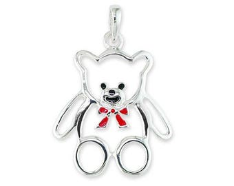 925 Sterling Silver Enameled Teddy Bear Charm Necklace