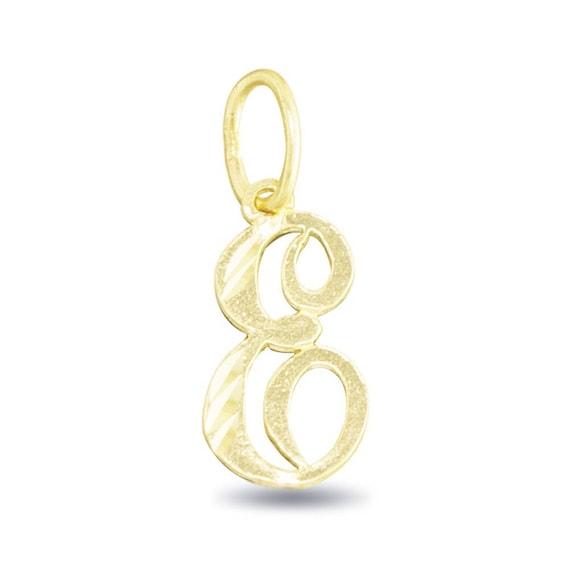 14K Yellow Gold Script Initial E Charm Pendant