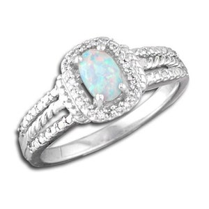 254 OP52 Trinity Knot Ring Sterling Silver 1ct Oval Supernova Opal