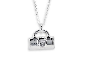 New 925 Sterling Silver Purse Handbag Pendant Necklace